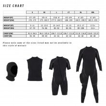 The size chart for the all black military semi tech wetsuit system