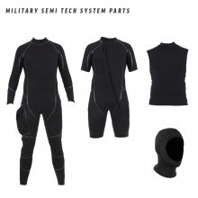 Military semi tech system includes a long wetsuit, shortie wetsuit, neoprene vest and a separate hood
