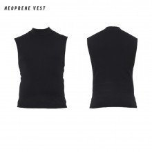 A neoprene vest, front and back view, included to be worn under the wetsuit for additional warmth and comfort