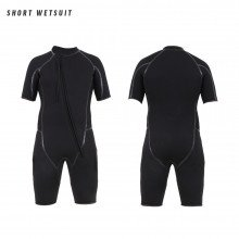 A shortie is included in this wetsuit combination, with liquid taped seams and stretch paneling