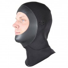 Black neoprene reversible scuba dive hood