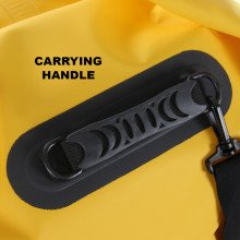 Roll top dry bag carrying handle