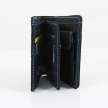 Black and blue ND Wallet - inside, partially open view