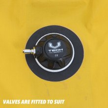 This suit is fitted with Northern Divers  high performance inflation and exhaust valves