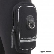 A zipped transporter pocket on the left thigh enables the user to carry belongings securely during t