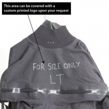 Surface suit is ex-demo and has writing on the chest along with the size LT