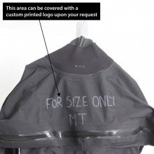 Surface suit is ex-demo and has writing on the chest along with the size MT