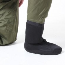 Men's Green Fly Fishing Waders with Socks - close up of neoprene socks and neoprene gaiters/ warmers