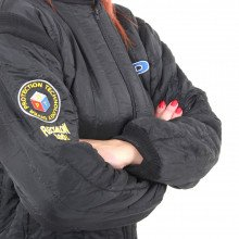 Embroidered logos on the Flectalon undersuit
