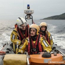 The refugee rescue team in action using Northern Divers Rescue & Response Offshore suit