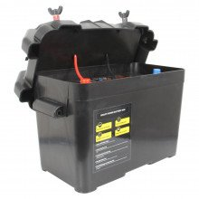 Smart Power Battery Box, shown with lid ajar and battery inside