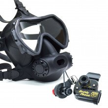 Spectrum Full Face Mask, Colour Black, Lens Clear with BuddyPhone