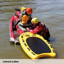 Lifeboard demo day with the storm force rescue suits at Leisure Lakes
