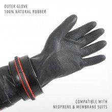 The system has been designed for use with neoprene or membrane drysuits that have either latex OR neoprene wrist seals.