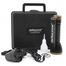 ZOOM torch supplied in a hard carry case with charger, lubricant, spare o-rings and lanyard