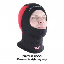 The voyager drysuit is supplied with a neoprene dive hood