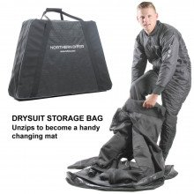 This neoprene voyager drysuit is supplied with a bag that unzips into a changing mat