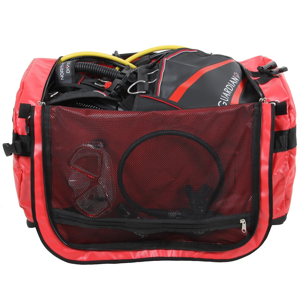 160L NDB5 Holdall open with the zipped lid on display