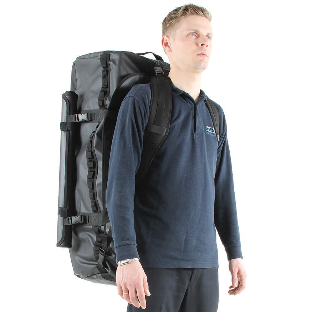 160L NDB5 Holdall in use as a backpack