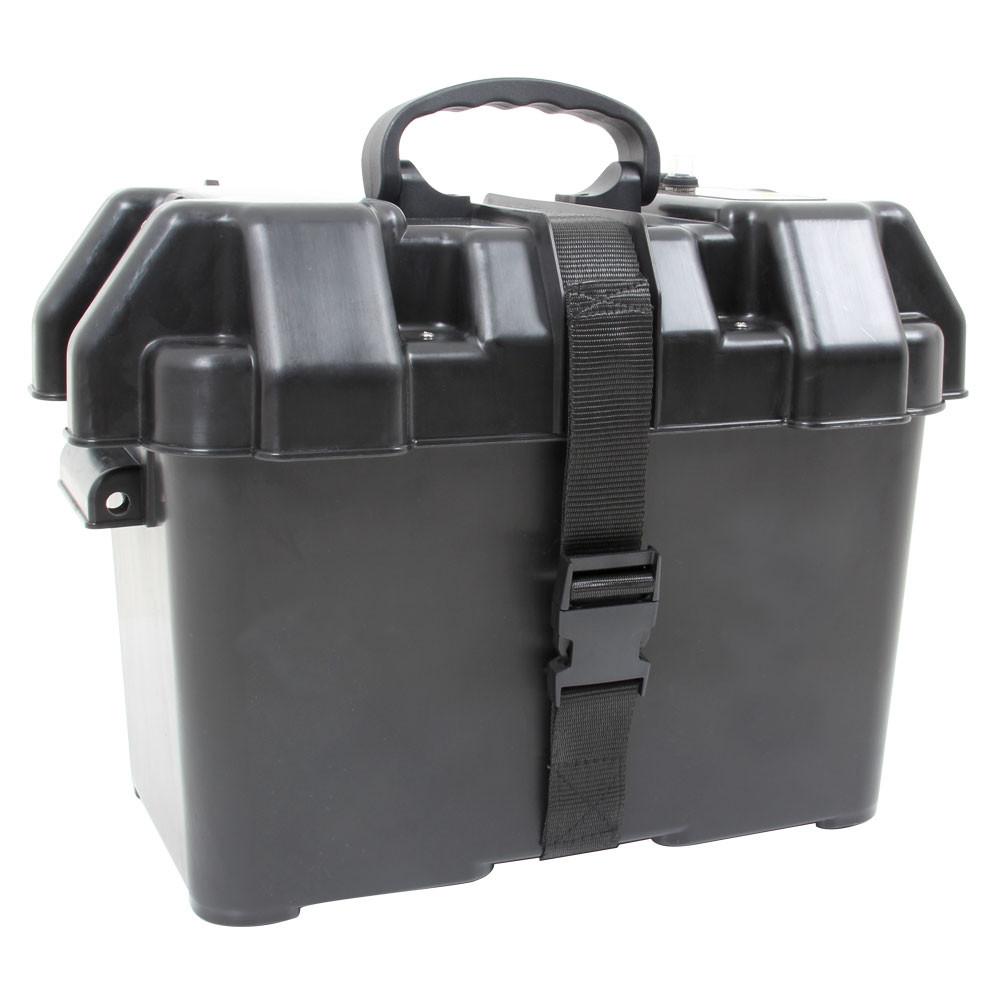 Smart Power Battery Box, shown from the rear, closed  with lid buckled shut