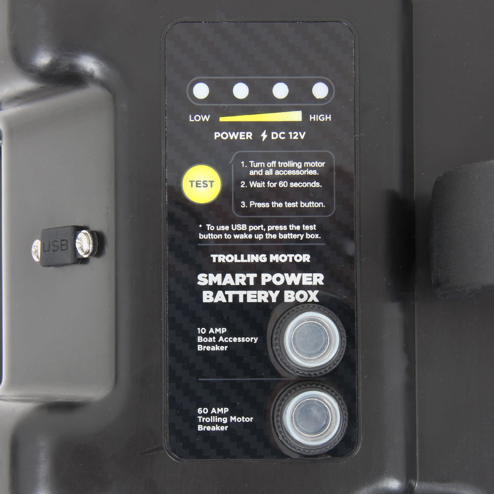 Smart Power Battery Box, close up of the circuit breaker panel information