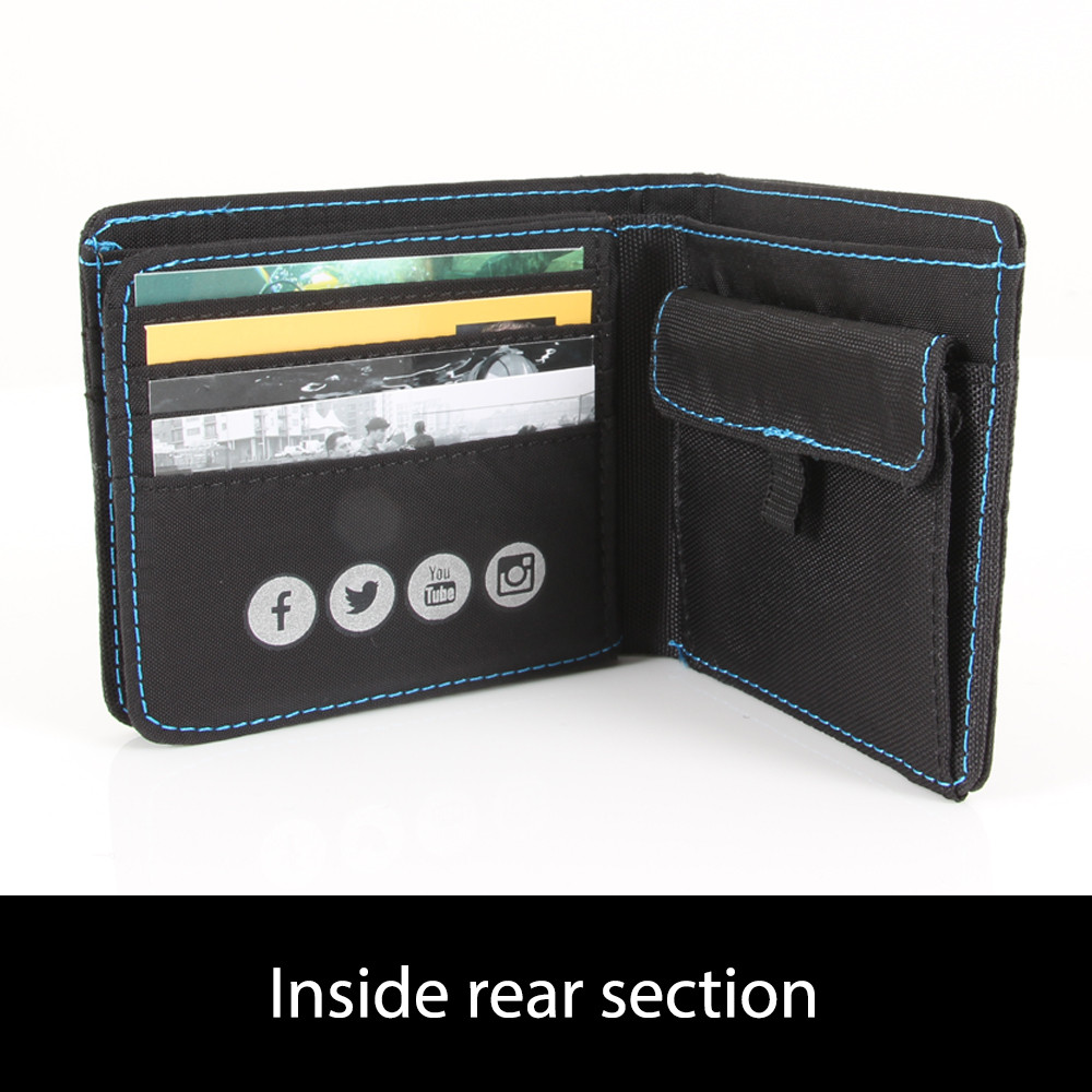 Black and blue ND Wallet- rear inside view