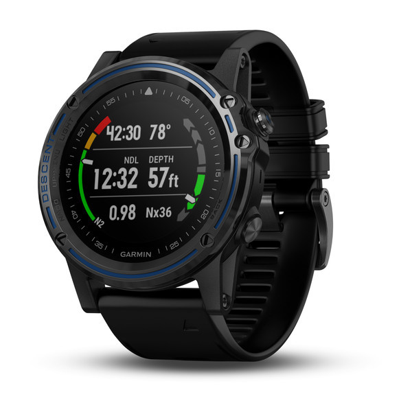 Garmin Descent™ Mk1 Grey Sapphire with Black Band front view, dive stats screen