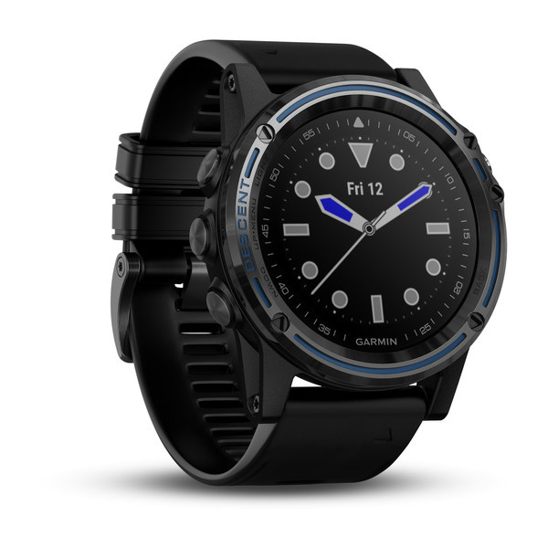 Garmin Descent™ Mk1 Grey Sapphire with Black Band front view, clock face