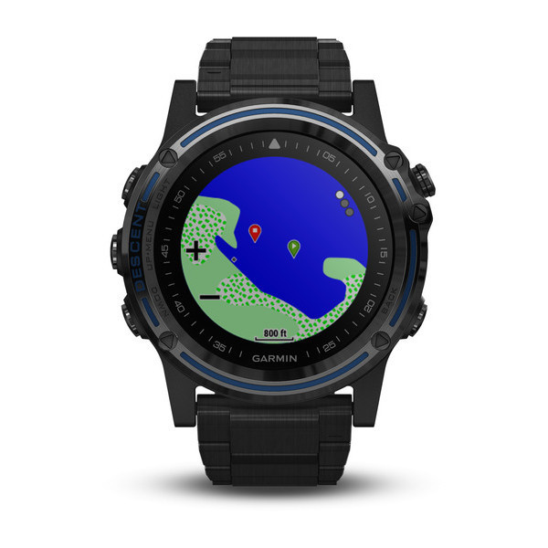 Garmin Descent™ Mk1 Grey Sapphire with DLC Titanium Band front view, map face