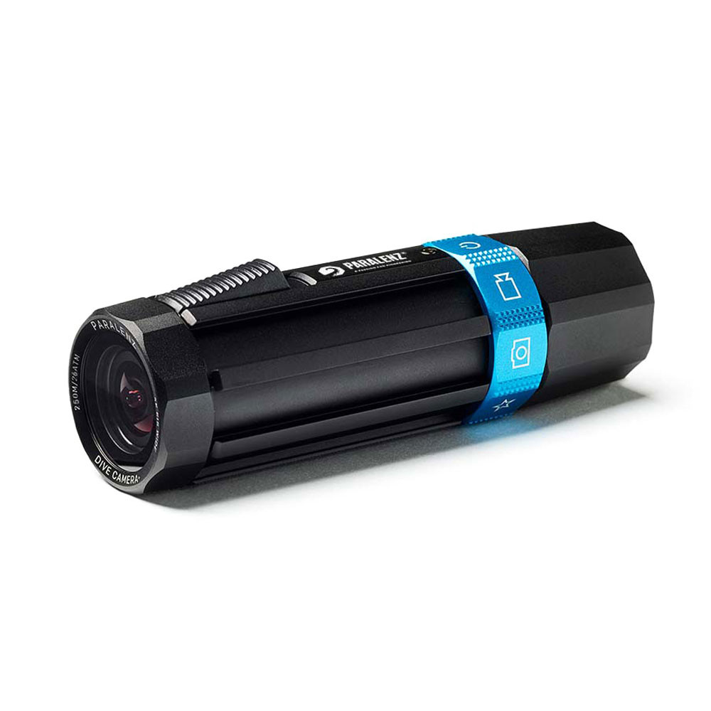 Paralenz Dive Camera+ lens front, blue mode toggle at the rear