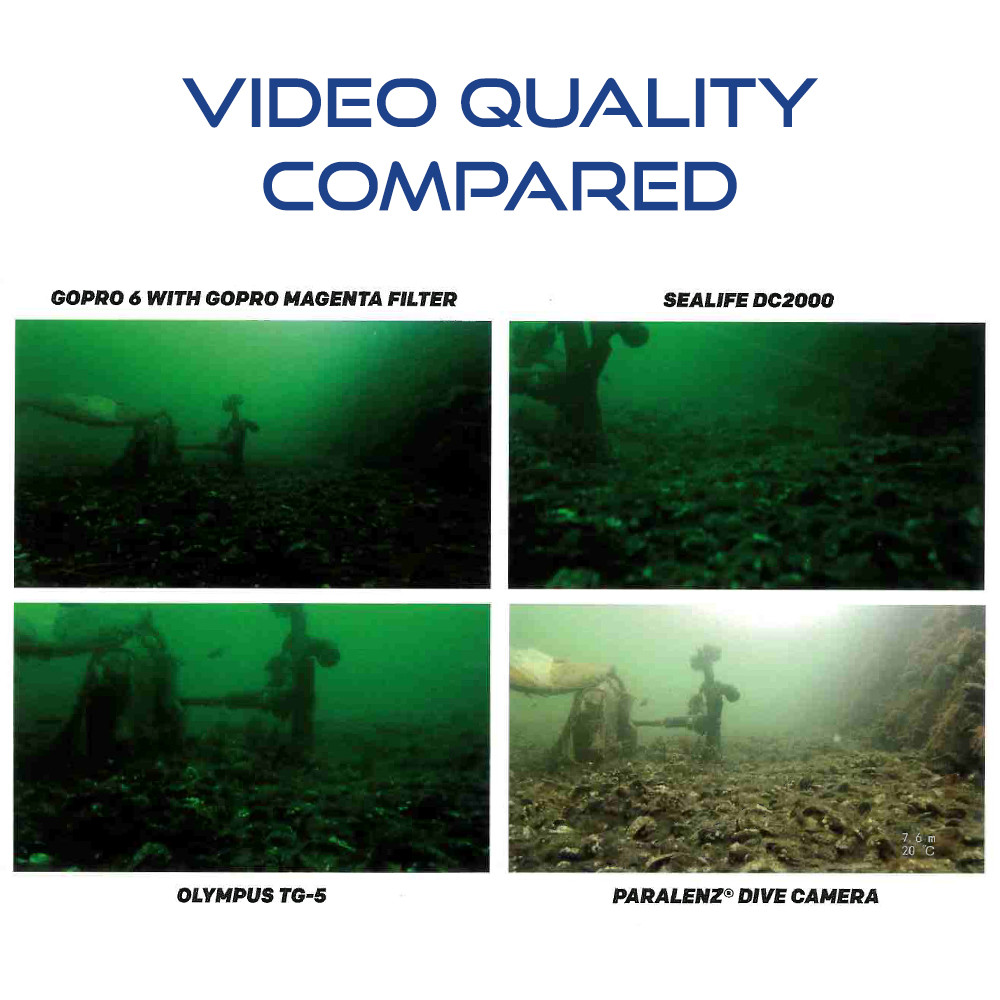 Paralenz Dive Camera+ compared with GoPro 6, Sealife DC2000, Olympus TG-5