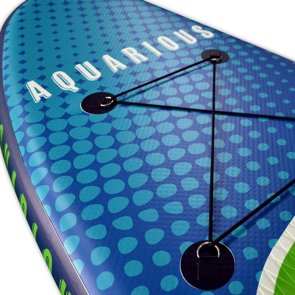 Aquarious iSUP board - Green & Blue, close up of the top of the board and the cargo area