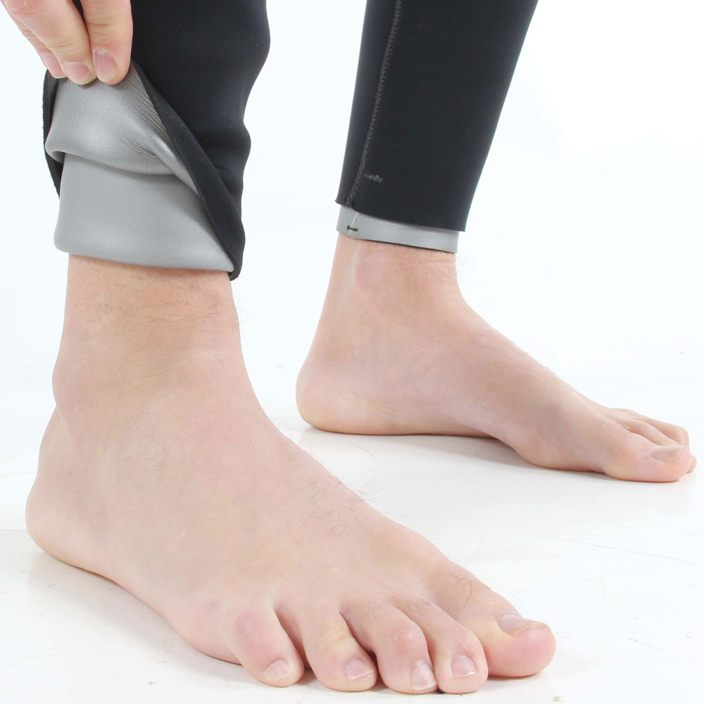 7mm Rear Entry Black & Silver Wetsuit - close-up of ankle seal