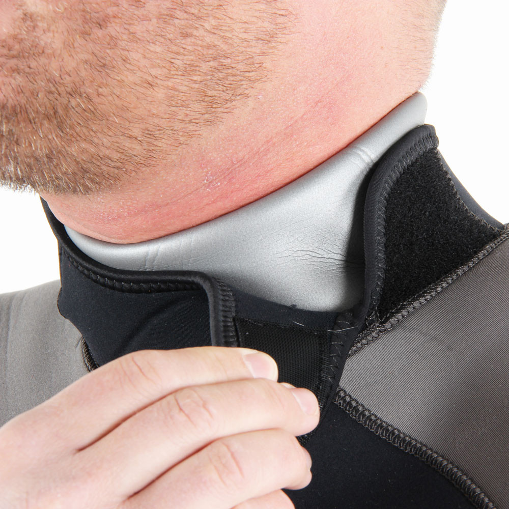 7mm Rear Entry Black & Silver Wetsuit - wrap up & around hook & loop fastening neck & close-up of ne