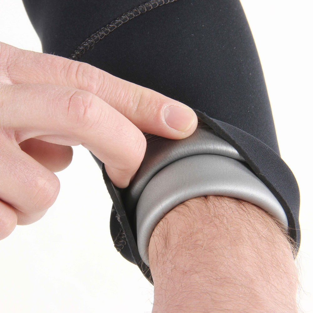 7mm Rear Entry Black & Silver Wetsuit - close-up of wrist seal