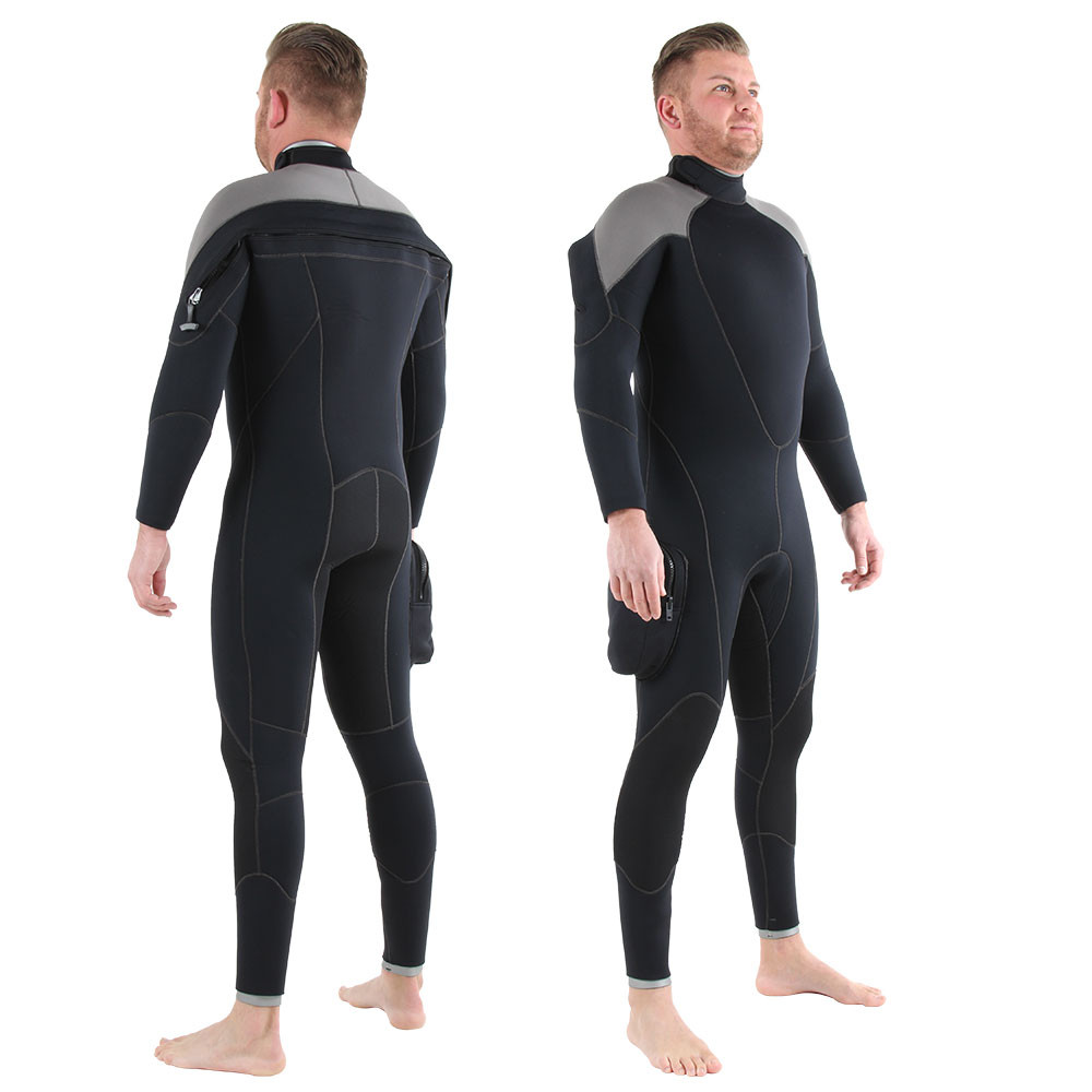 7mm Rear Entry Black & Silver Wetsuit - front & back shots