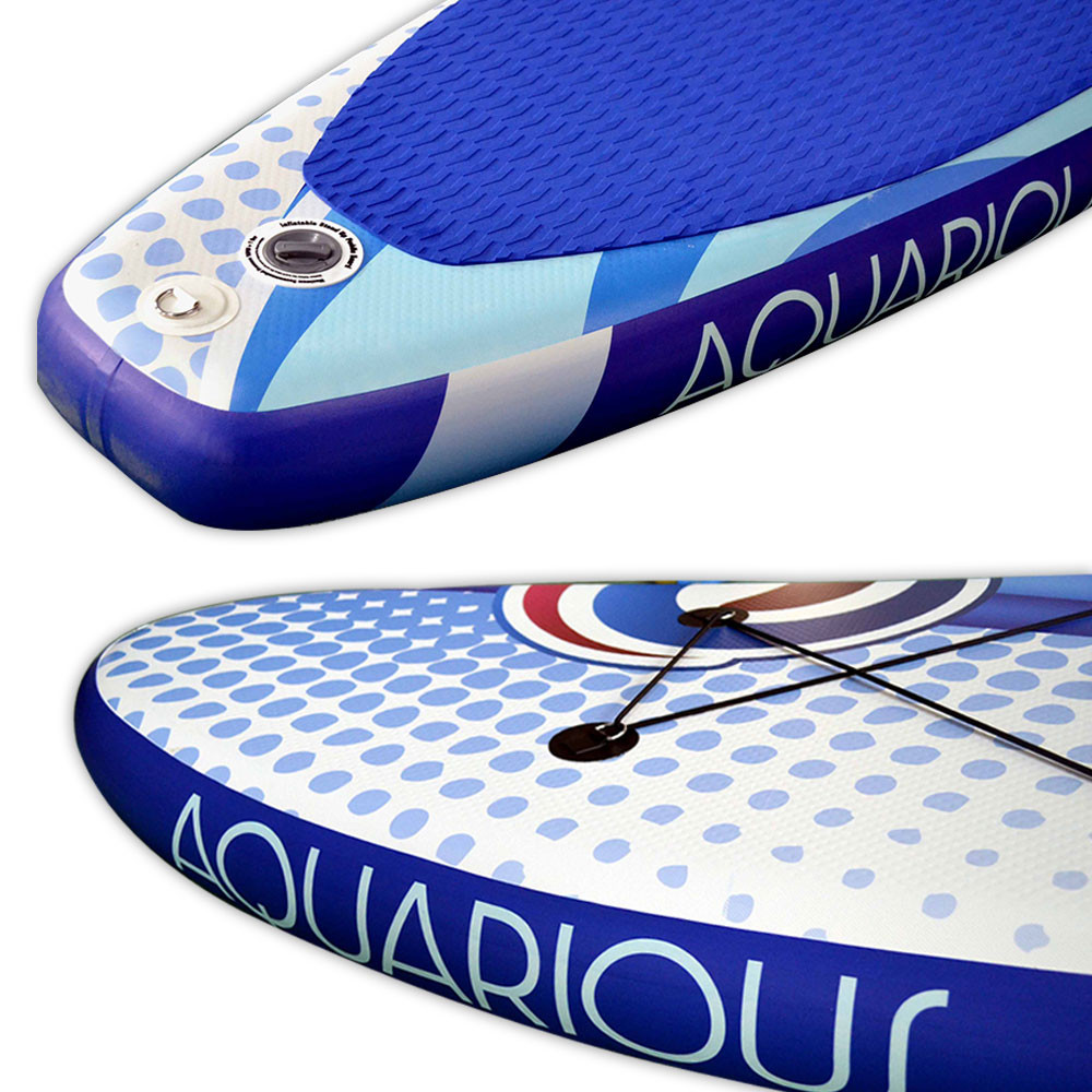 Aquarious iSUP board - Green & Blue, close up of the inflation valve & EVA foam grip pad