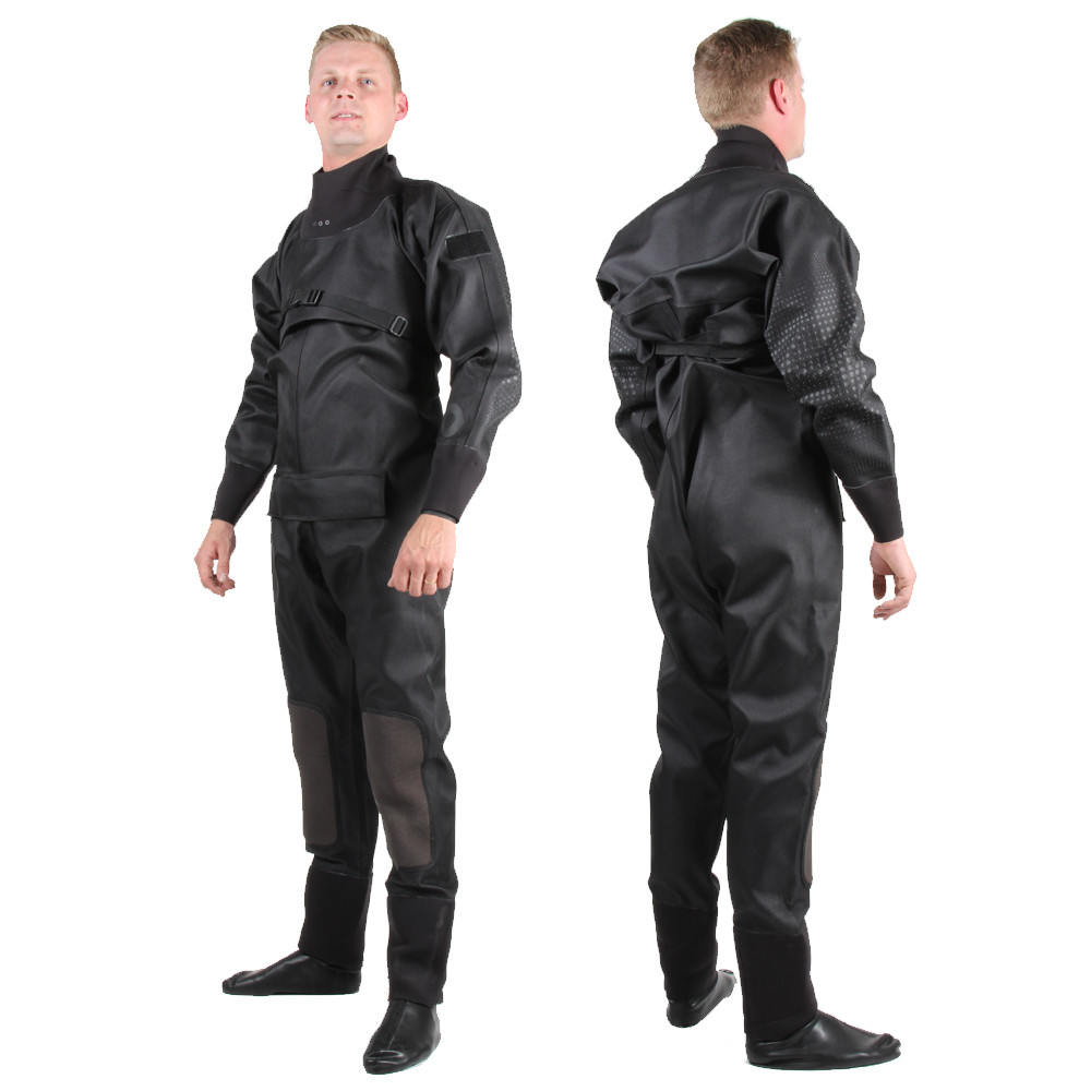 Tri-Laminate Diving Drysuit - front and back view