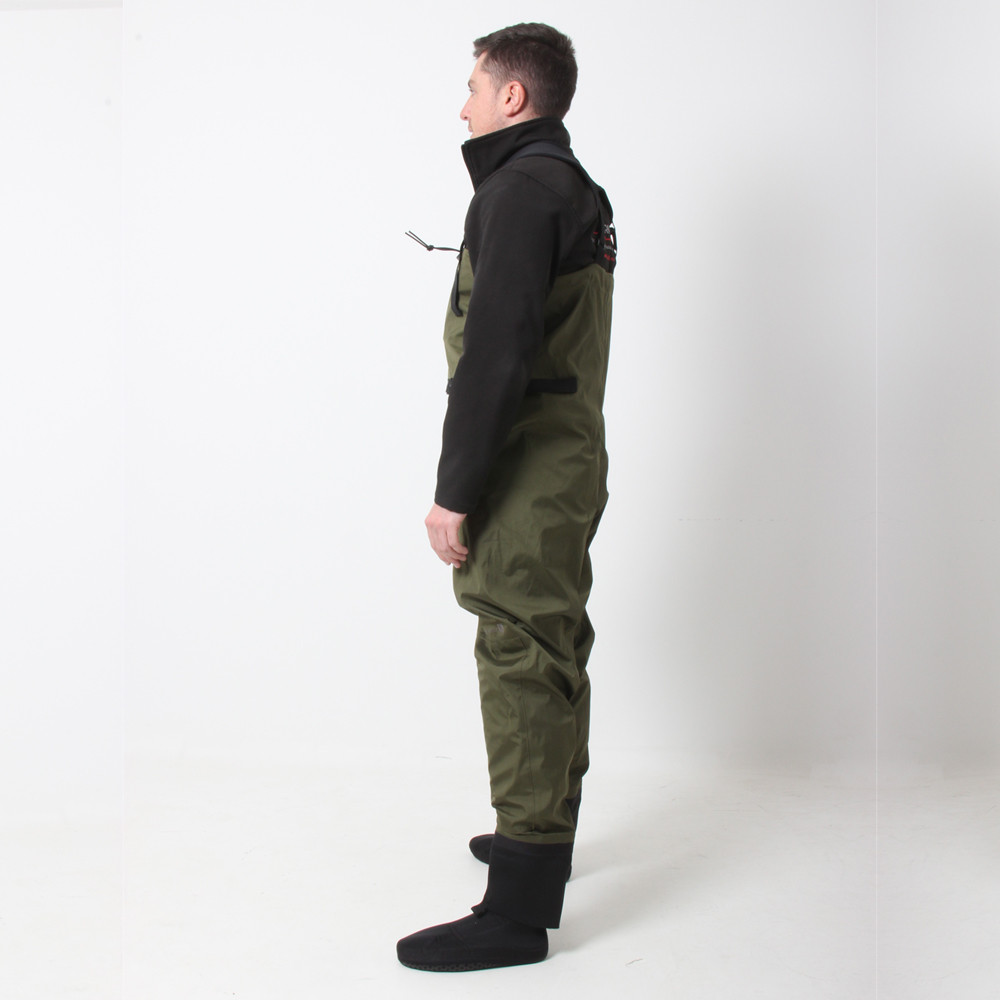 Men's Green Fly Fishing Waders with Socks - side view