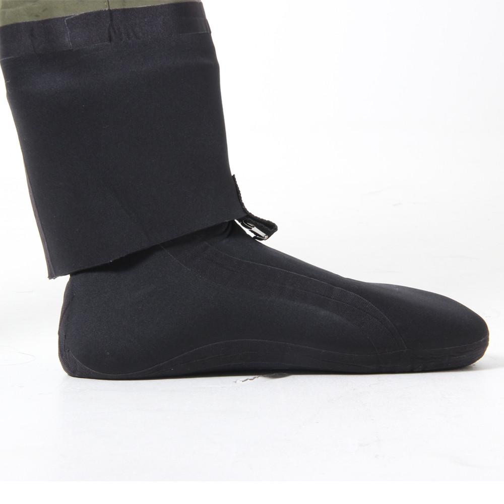 Men's Green Fly Fishing Waders with Socks - close up of neoprene socks and neoprene gaiters/ warmers