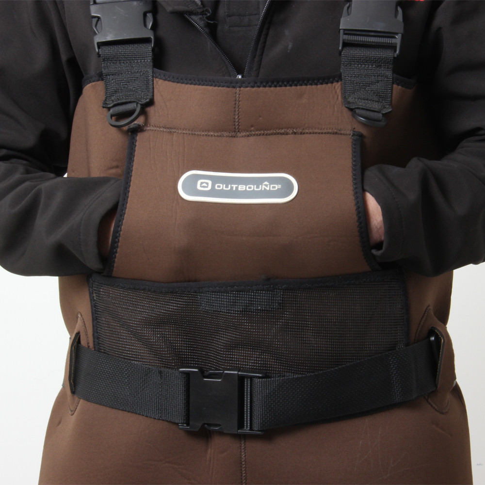 Men's Brown Outbound Waders - close up of hand-warmer pocket