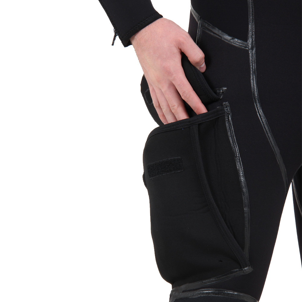 Long John includes a large side bellows pocket, close up of pocket, hand reaching in