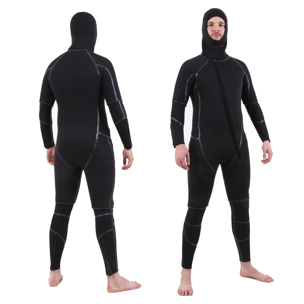 Semi-Tech 3-piece Wetsuit System - Long John with Shortie on top & wearing hood, front & back view