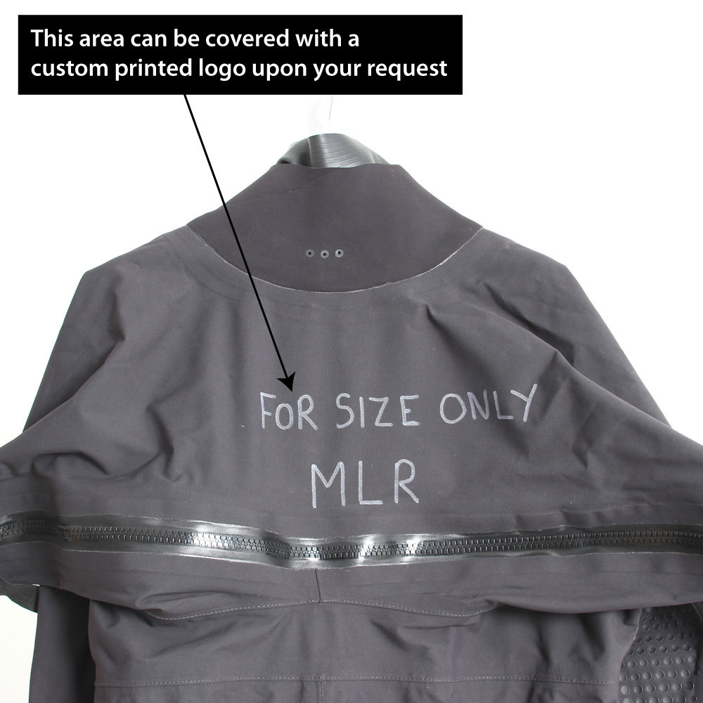 Surface suit is ex-demo and has writing on the chest along with the size MLR